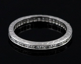 Platinum Art Deco Style Diamond Stackable Eternity Ring Band 2.3mm Wide