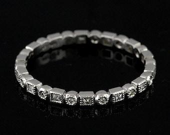 French Cut Square Diamond Women's Wedding Ring, Eternity Round Diamond Wedding Ring, Stacking Vintage Art Deco Style Platinum Band 1.5mm