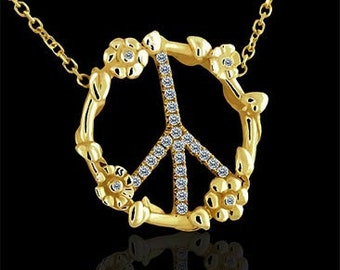 14K Yellow Gold Art Diamond Flower Micro Pave Peace Sign Pendant