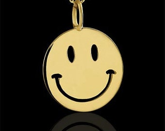 Smiling Face Necklace, Gold Charm Pendant, Happy Face Jolly Disc Necklace, Yellow Gold Cut Out Joyful Necklace, Cable Chain Lobster Clasp