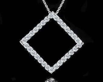 Diamond Square Pendant, Conflict Free Diamond Necklace, Diamond Geometrical Pendant, Contemporary Necklace, Simple Gold Diamond Pendant