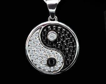 Diamond Gold Yin Yang Necklace, Black Diamonds Pendant, Taiqi Chi Necklace, Black White Diamond Yin Yang Pendant, Conflict Free Yin Yang