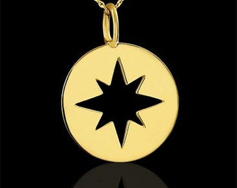Star Charm Disc Pendant Necklace 14K Yellow Gold