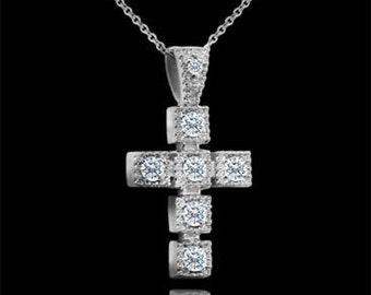 Diamond Cross Necklace, Small Cross Pendant, Religious Symbol Necklace, Christianity Cross, Conflict Free Diamond Cross, Tiny Diamond Cross