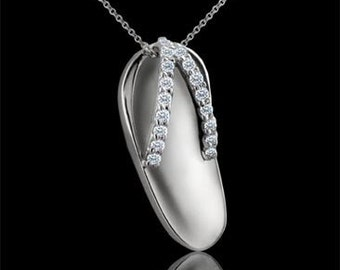 Diamond Flip Flop Sandal Pendant in 14K White Gold