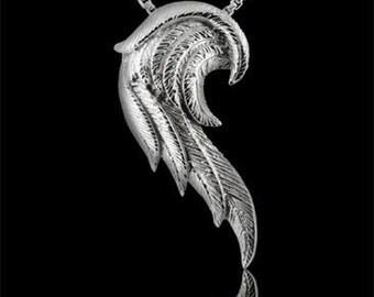 Designer Large Silver Angel Wing Pendant Necklace
