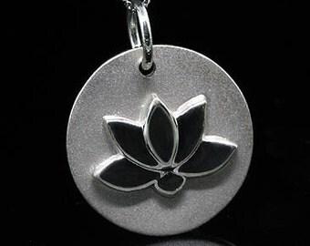Designer Buddhist Symbol Lotus Flower Sterling Silver Pendant Necklace