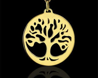 Tree Of Life Necklace, Gold Family Tree Of Life Pendant, Tree of life Round Disc, Cut Out Tree Of Life Necklace, Cable Chain Lobster Clasp