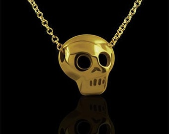 Gold Skull Pendant, Skull Charm Necklace, Small Tiny Gold Charm, Dainty Petite Gold Necklace With Chain Lobster Clasp, Symbol of Death