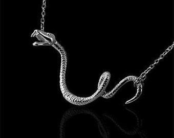 Serpent Snake Silver Designer Pendant Necklace