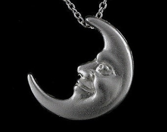 3D Designer Crescent Moon Pendant Two Faced Sterling Silver Acid Finish