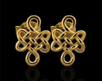 Designer 3D Buddhist Love Knot Post Earrings 14K Gold With Push Back