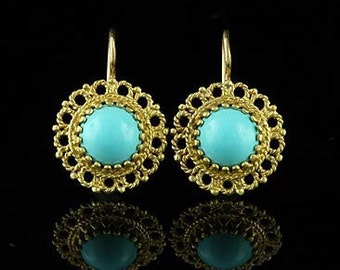 Vintage Style Turquoise Earrings 14K Yellow Gold