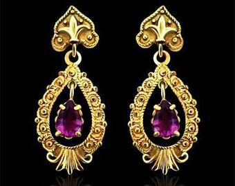14K Yellow Vintage Style Amethyst Earrings