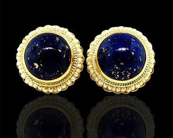 Victorian Style Lapis Earrings 14K Yellow Gold