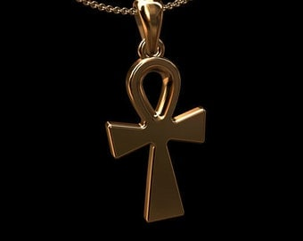 Gold Ankh Cross Necklace, Rose Gold Ankh Pendant, Egyptian Gold Cross Necklace, Ancient Cross, Cable Chain Ankh Necklace Lobster Clasp