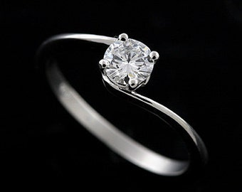 Assymetrical Engagement Ring, Natural Round Diamond Ring, Modern Solitaire Ring, Bypass Plain Shank Ring, Delicate Platinum Engagement Ring