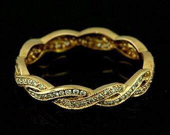 Diamond Women's Wedding Ring, Braided Wedding Ring, Intertwining Women's Ring, Eternity Infinity Twisted Women's Rose Pink Gold Band 3.4mm