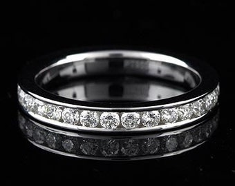 Classic Diamond Wedding Ring, Channel Set Women's Platinum  Diamond Band, Eternity Wedding Ring Conflict Free Round Diamonds Ring 2.9mm