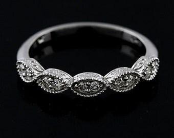 Diamond Marquise Wedding Ring, Half Way Engraved Wedding Ring, Vintage Antique Style Wedding Band, Milgrain Carved Prong Set Gold Band 3mm