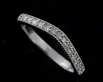 Diamond Wedding Ring, Women's Curved Band, Contour Wedding Ring Band, Wrap Guard Wedding Band, Gold  Diamond Band, Milgrain Half Way Ring