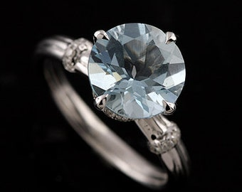 14K White Gold Modern Style Aquamarine Center Pave Diamond Engagement Ring