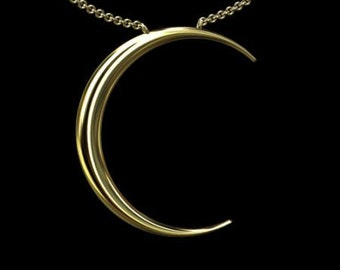 Gold Moon Necklace, Yellow Gold Crescent Moon Pendant, Solid Gold Moon Jewelry, Cable Chain With Lobster Clasp Moon Necklace
