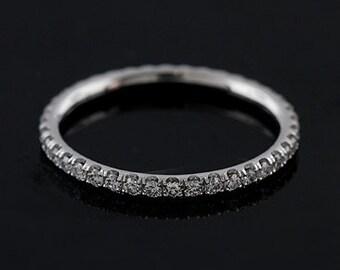 Diamond Wedding Ring, Eternity Wedding Ring, Wedding Band, Stackable White Gold Diamond Wedding Ring, Comfort Fit Stacking Diamond Band 2mm