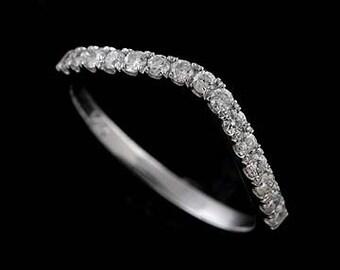 Diamond Wedding Ring, Curved Wedding Ring, Contour Diamond Ring, Guard Wrap Wedding Band, Platinum Diamond Wedding Ring, Half Way Ring Band