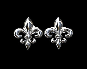 Fleur De Lis Solid 14K White Gold Studs Earrings