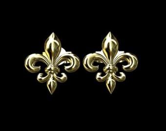 Fleur De Lis Solid 14K Yellow Gold Studs Earrings
