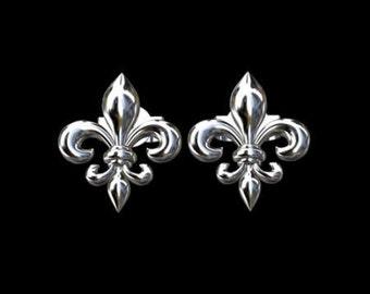 Fleur De Lis Sterling Silver Studs Earrings