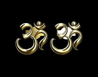 OM AUM Post Earrings 14K Yellow Gold