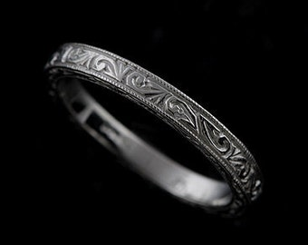 14K Solid White Gold Art Deco Style Engraved and Milgrained Flat Wedding Band Ring 2.5mm Wide