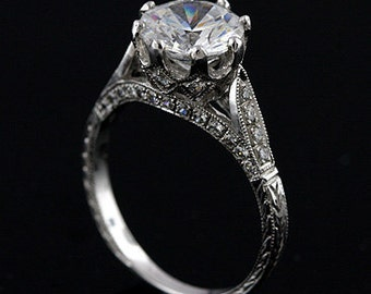 Vintage Hand Engraved Ring, Crown Basket Diamond Ring, 2CT Forever One Moissanite Engagement Ring, Cathedral Style 14K White Gold Ring