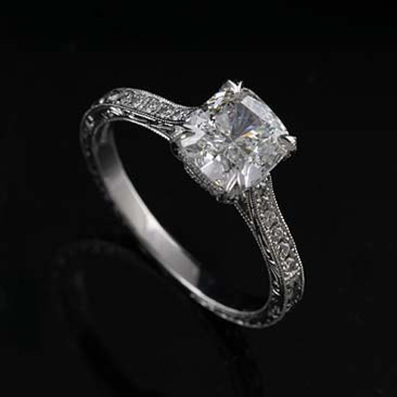 Diamond Platinum Art Deco Replica Engraved Cushion Engagement Ring Mounting