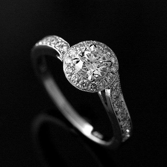 Round Diamond Asymmetrical Micro Pave Engagement Ring 14K White Gold