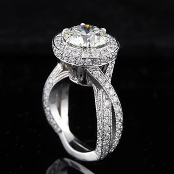 Platinum Vintage Extravagant Diamond Micro Pave Engagement Ring Setting