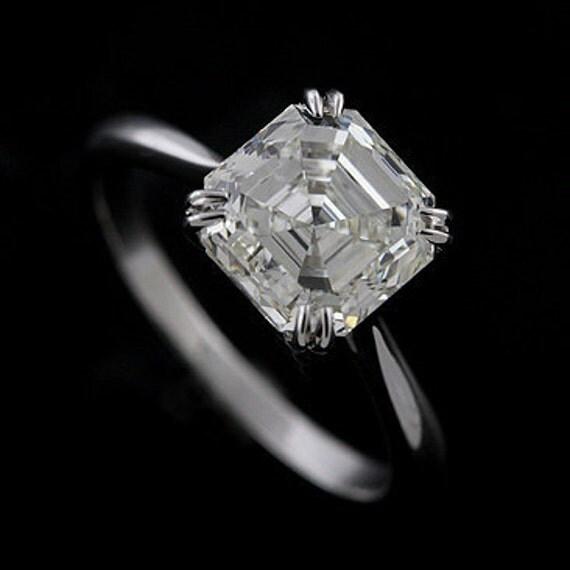 Platinum Solitaire Asscher Cut Diamond Engagement Ring Mounting