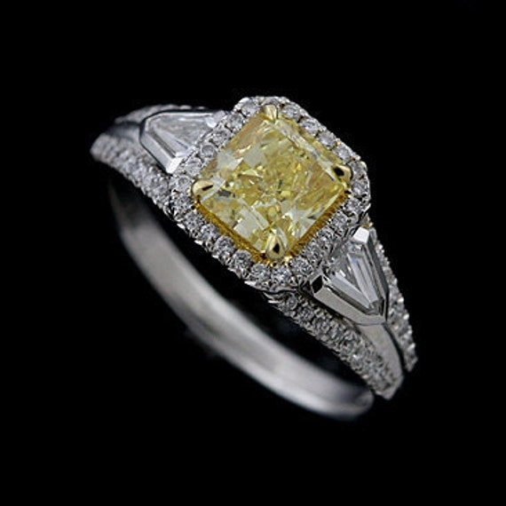 18K White Gold Fancy Intense Yellow Diamond Halo Engagement Ring
