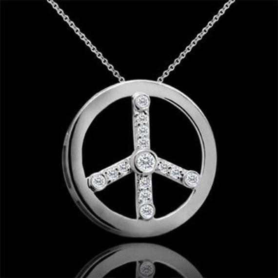 14K White Gold Modern Design Diamond Peace Sign Pendant