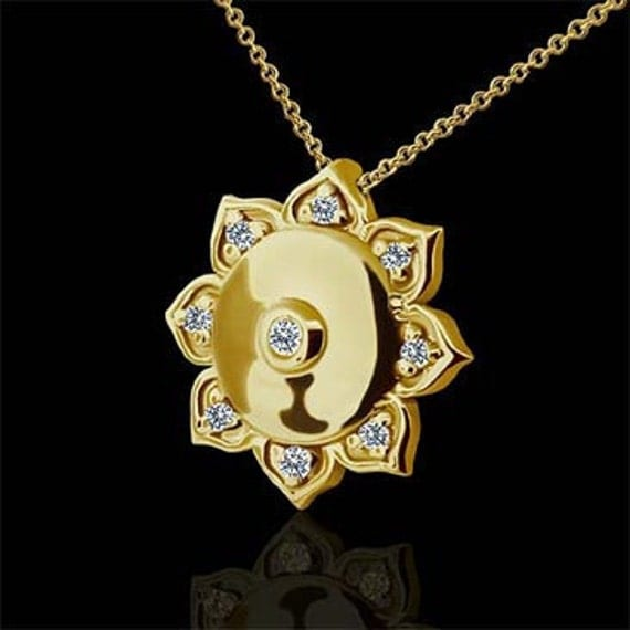 Diamond Lotus Flower Buddhist Symbol 14K Yellow Gold Charm Pendant And Cable Chain With Lobster Clasp