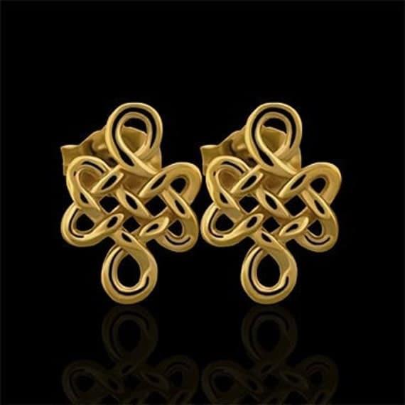 Designer 3D Buddhist Love Knot Post Earrings 14K Gold