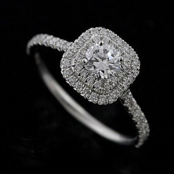 Double Halo Style Diamond Platinum Engagement Ring