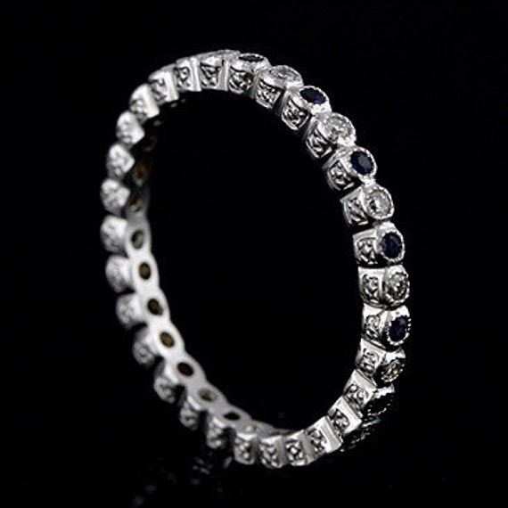 Platinum Stackable Diamond and Sapphire Engraved Eternity Band Ring 1.9mm Wide