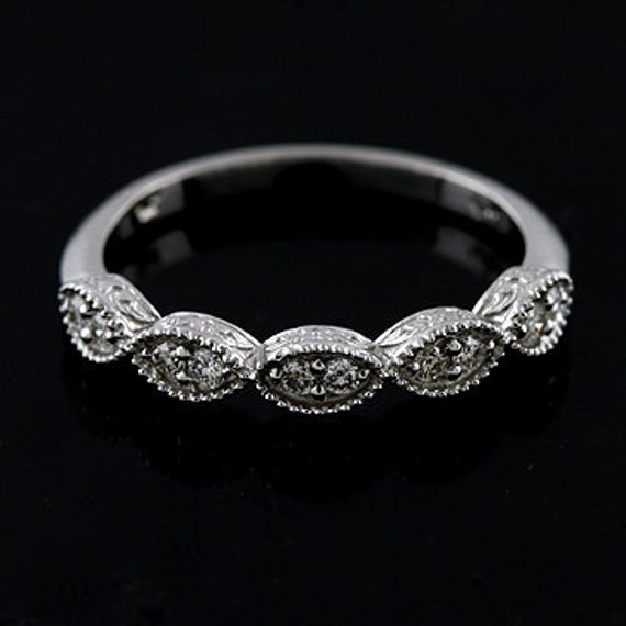 Diamond Vintage Style Diamond Wedding Band Ring 14K White Gold