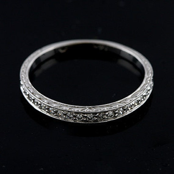 Engraved Art Deco Style Half Way Diamond 14k White Gold Wedding Band
