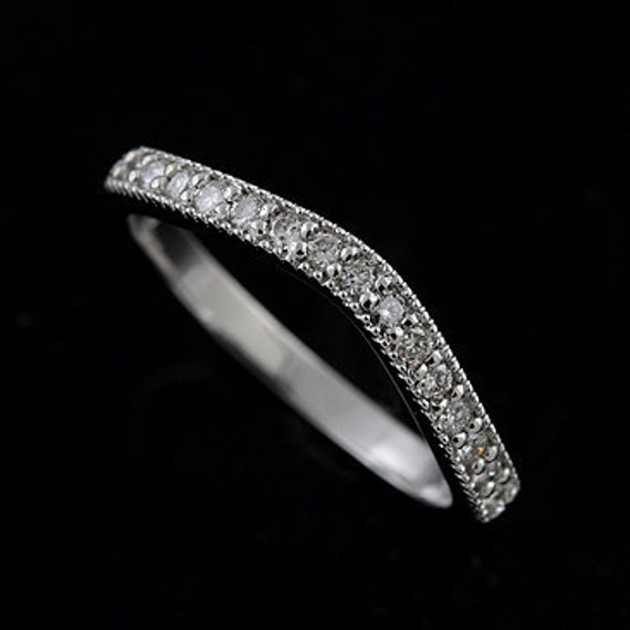 14K White Gold Diamond Curved Band Ring Wrap Guard 2.5mm Wide