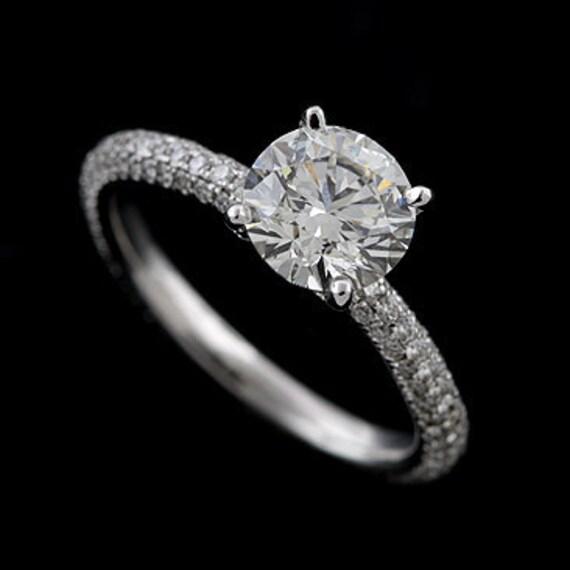Diamond Cut Down Micro Pave Platinum Engagement Ring Mounting