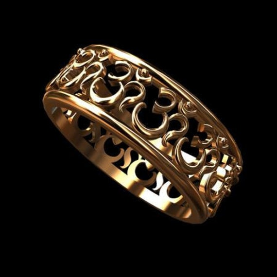 Solid 14K Pink Gold OM AUM Eternity Band Ring 6.5mm Wide